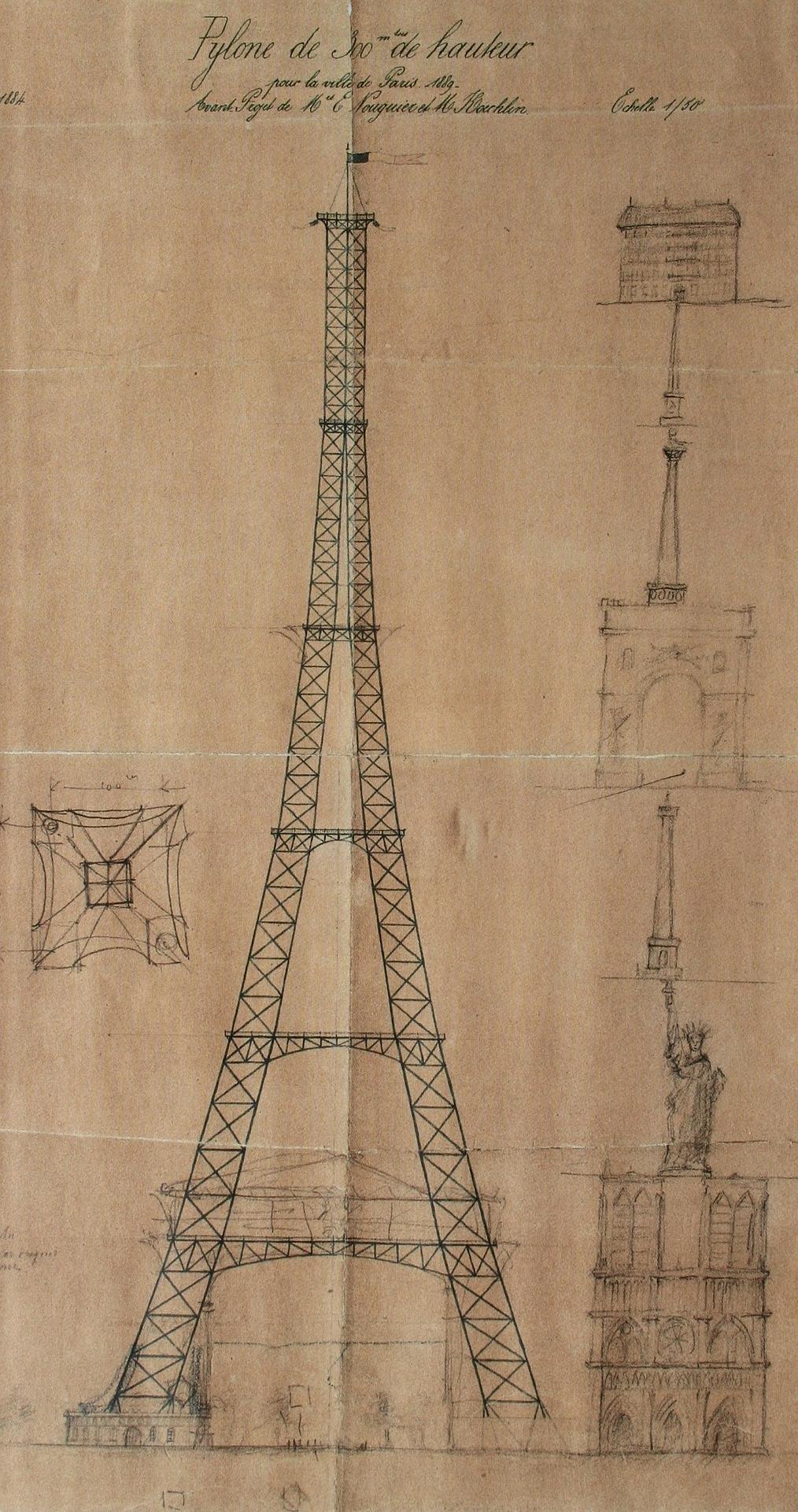 nákres konštukcie Eiffelovej veže